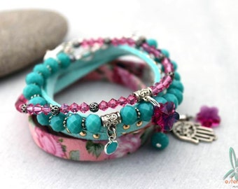 Mix & Match hot pink/mint blue - Bohemian chic, stacked set of 4 handmade bracelets in hot pink and mint blue