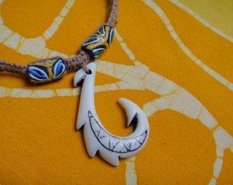 Hawaiian Tribal Fish Hook African Rasta Bead Hemp Necklace