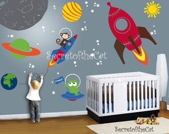 Nursery wall decal - Wall Decals Nurseryl - space world decal - custom name -rocket decal - Wall Decal - space decals - Nursery