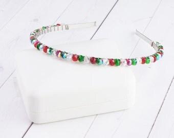 Christmas Headband - Crystal Headband - Red and Green Headband - Metal Headband - Holiday Party Headband - Crystal Hairband - Hostess Gift