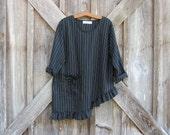 linen contemporary top blouse tunic with asymmetrical hem black white stripe ready to ship
