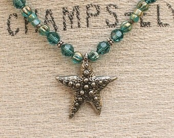 One of a Kind Starfish Jewelry Mint Green Silver Teal Turquoise Starfish Necklace Colorful Beach Bohemian Jewelry