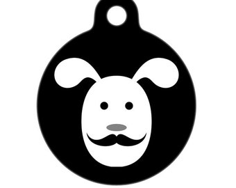 Pet ID Tag - Mustache Pup - Pet Tag, Dog Tag, Luggage Tag, Child ID Tag