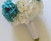 Turquoise Peony and White Hydrangea Bridal Bouquet, Teal Bridal Bouquet, Wedding Floral Package, Bridesmaids Bouquets