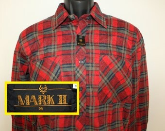 DEADSTOCK Mark II vintage plaid shirt M red 80s long sleeve collared button up