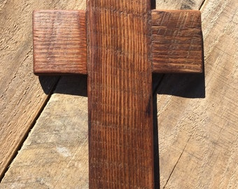 "Rustic Cross, natural yellow pine reclaimed very old wood, stained and beautiful 6""x10"""