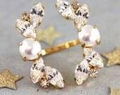 Cocktail Ring,Statement Ring,Swarovski Statement Crystal Ring,Double Ring,Pearl Crystal Swarovski Rings,Bridal Ring,Bridal Statement Ring