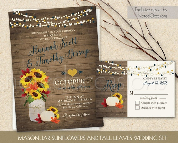 Rustic Fall Wedding Invitations: Rustic Fall Wedding Invitation Printable Set By NotedOccasions