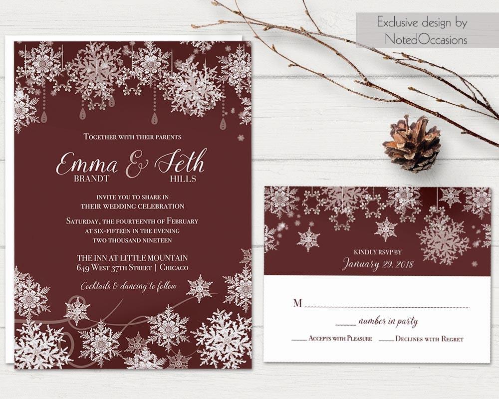 Winter Wedding Invitation Wording: Winter Wedding Invitation Set Snowflake Wedding Marsala Wine