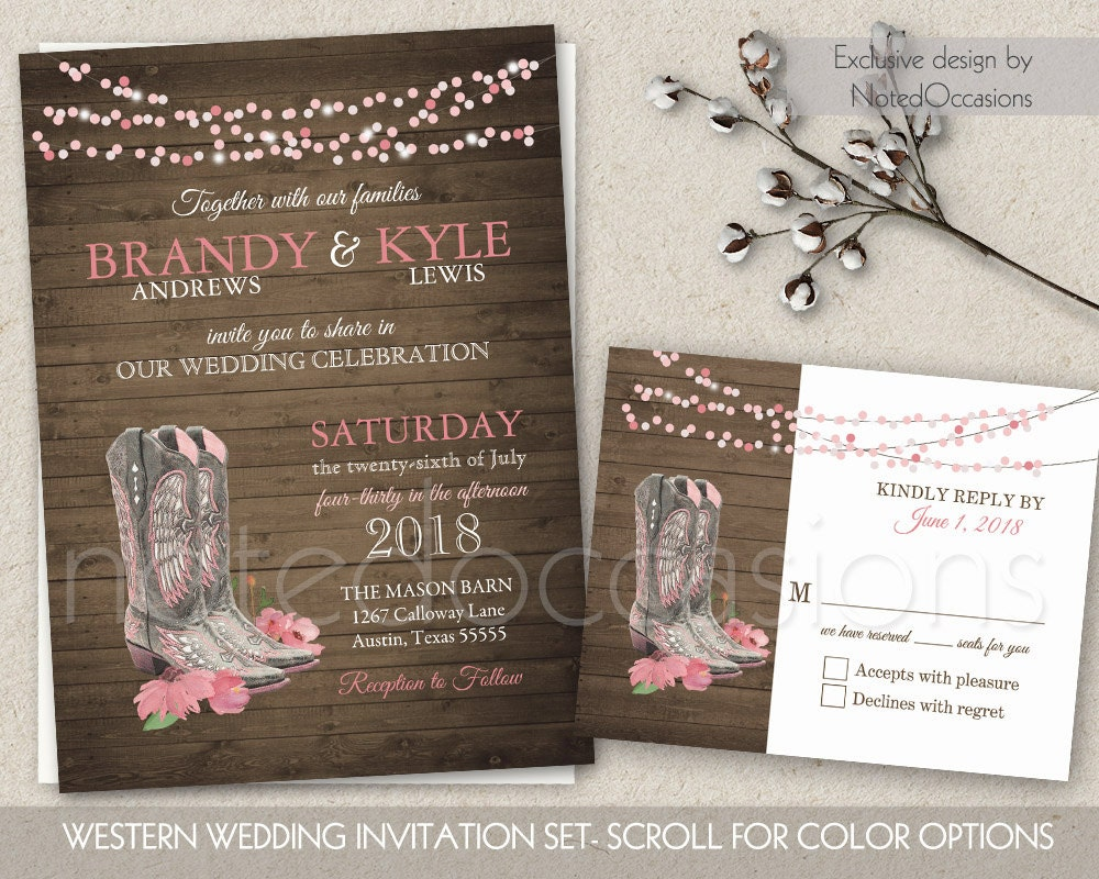 Western Wedding Invitation Wording: Printable Country Western Wedding Invitations By