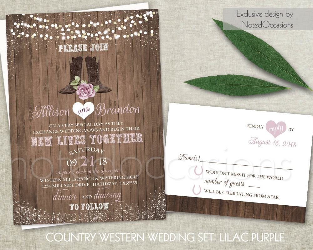 Western Wedding Invitations Set Country Wedding Cowboy Boots