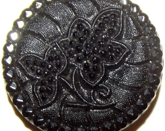 Lovely Antique Victorian Lacy Black Glass Button