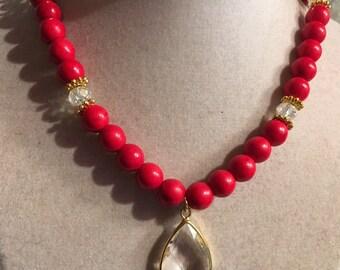 Red Necklace - Turquoise Jewelry - Gold Jewellery - Crystal Pendant - Gemstone - Fashion - Boho - Chic