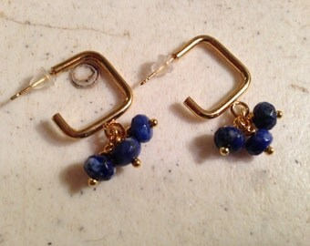 Lapis Earrings - Navy Blue Earrings - Gold Jewellery - Gemstone Jewelry - Fashion - Style - Lapis - Gemstone