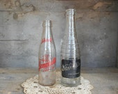 Two Vintage Soda Bottles Black Label Nesbitts of California 7 Ounce Red Label Lemonette 6 Ounce Collectible Glass