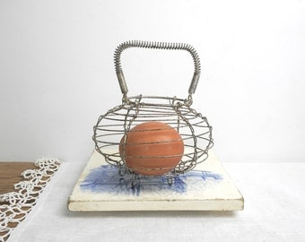 Vintage Small Wire Basket with Handle Miniature Toy French Egg or Lettuce Dryer Farmhouse Kitchen Cottage Decor Collectible