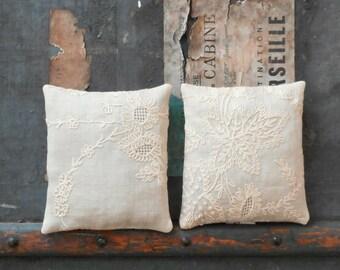 Two Ecru Lavender Sachet Pillows Vintage Textiles Fine Linen w Machine Embroidery Florals on Beige Linen Cottage Chic Scented Home Decor