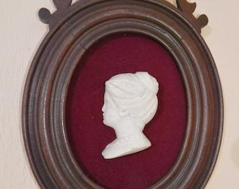 1880s Solid Wood Oval Frame~Feminine Vintage White Sandstone Cameo~Red Velvet