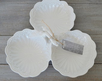 Vintage White Swan Triple Serving Dish