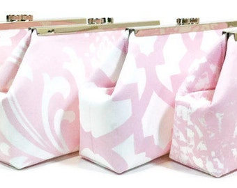Bridesmaid Clutches Personalized Clutch Bridal Party Purses Spring Wedding Clutch Choose Your Fabric Pink Blush Set of 5 FREE SHIPPING