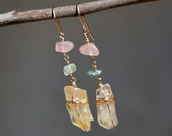 Raw Stone Earrings. Raw Stone Jewelry. Crystal Earrings. Stones Earrings. Raw Crystal Earring in Gold Filled with Pink & Green Chip Bead.