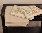 Vintage Full Sheet Set Remix Linens Size Double Flat Sheet Neutral Wheat Solid Dark Beige Light Brown & Floral Pillowcasse Bedding