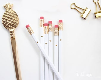 White and Gold Foil Heart Pencils