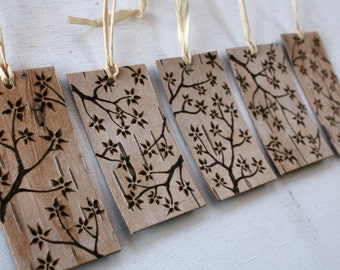 Rustic Birch Bark Gift Tags - Twigs and Blossoms - Set of 5 Gift Ornaments/Tags