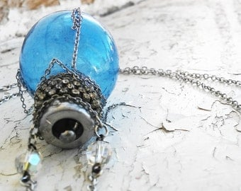Steampunk Blue Lightbulb Hanging Chains Silver Tone Jewelry Necklace