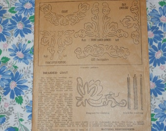 Antique Home Pattern Co.  14094 Transfer Designs, Ladies Home Journal, Braided Coat Design Early 1900s, Uncut
