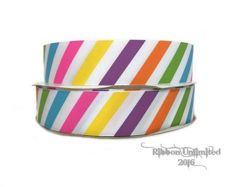 10 yds  1.5 Inch Multi Color DIAGONAL STRIPES beach grosgrain ribbon LOW Shipping Cost
