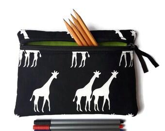 Pencil case / zipper pouch /cosmetic bag black giraffe