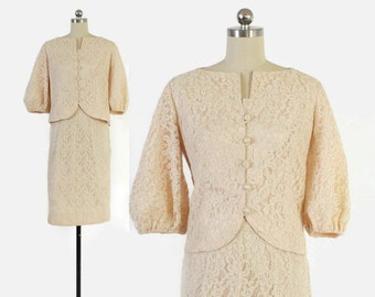 Vintage 60s LACE SUIT /  1960s Palest Peach Floral Lace Puff Sleeve Jacket & Pencil Skirt Set S
