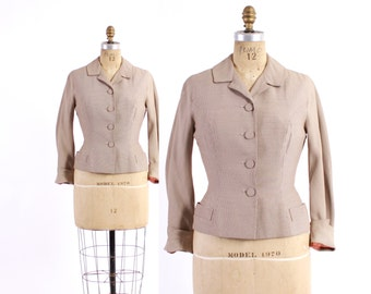 Vintage 50s BLAZER / 1950s Milk Chocolate Brown & Ivory Houndstooth Tailored Jacket S