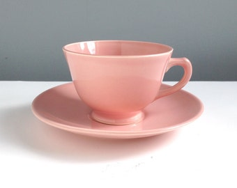 Sharon Pink Lu Ray Teacup and Saucer, Taylor Smith Taylor, TST, Luray Pastels