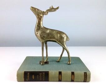 Vintage Brass Deer, Brass Figurines, Brass Animals, Brass Reindeer, Brass Buck, Cabin Decor, Hunting Lodge Decor, Brass Figure