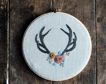 SUMMER SALE Antler Hoop Art - Hand Embroidered Hoop Art - Antler with Flowers, Antler Wall Decor