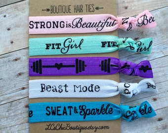 Boutique Elastic Hair Ties Fit Girl Sweat & Sparkle Strong 5 pack - awesome gifts