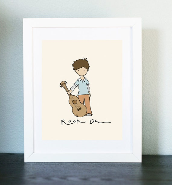 Rock On, Children's room art, Nursery Art Picture, Boy's bedroom Illustration, Boy's room print, Children's décor