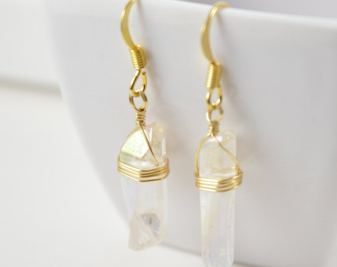 Angel Aura Quartz Crystal Point Earrings