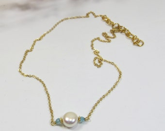 Single Freshwater Pearl on Chain Necklace, Shining Pearl & Blue Zircon Chain Necklace, Delicate Chain Pearl Necklace, Single Pearl Necklace