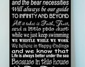 Beautiful DISNEY famous movie quotes wooden subway art 12x24 sign -In this house we let it go because hakuna matata and the....