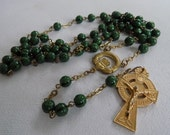 Vintage Erin Ireland Celtic cross, Claddagh, and malachite look beads Christian Catholic rosary