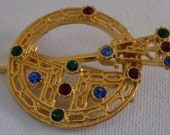Vintage brooch, Celtic/Scottish scabbord and shield with multicolor crystals brooch,jewelry