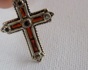 """Vintage orange and green baguette and sterling silver Christian cross pendant, signed """"925A"""" ornate pendant"""