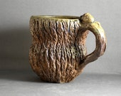 Stoneware Hand Carved Wood Fired Tree Bark Mug