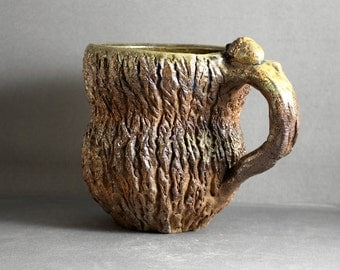 Stoneware Hand Carved Wood Fired Tree Bark Mug
