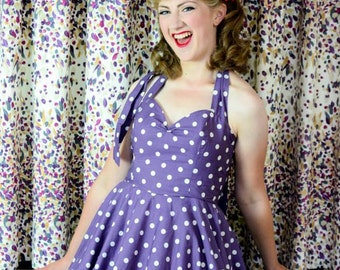 Fifties Polka Dot Dress in Purple. Full Circle Skirt, Halter Neck, Vintage Style, Bridesmaid