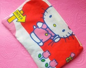 hello kitty vintage style zipper closure pencil or make-up bag ucycled by felices happy designs