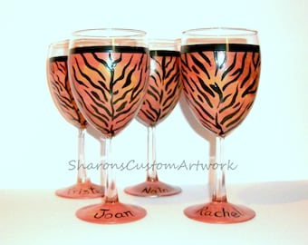 Tiger Cheetah Leopard Zebra Giraffe Print Wine Glasses for Bridal Party -  Set of 4 -10 oz. Wine Glasses Personalized With Names Bridesmaid